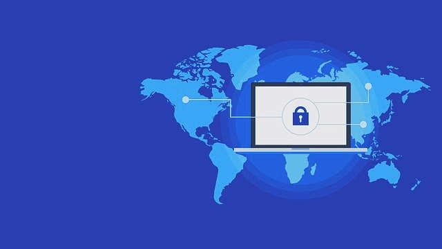 Världskarta med säker dator